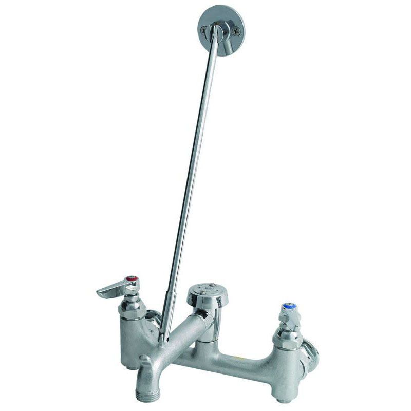 T&S BRASS B-0665-BSTR SERVICE SINK FAUCET, WALL MOUNT,CERAMIC CARTRIDGE, VAC BREAKER, ROUGH CHROME, 8