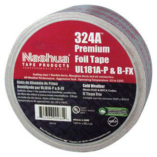 NASHUA 324A 3X60YD PREMIUM FOIL TAPE COLD WEATHER UL 181A-P & B-FX (1581) (SEALS CLASS 1 FLEXIBLE DUCT, FIBERGLASS DUCTS AND AIR CONNECTORS) (HAS PRINTING ON TAPE) MC310844