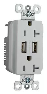 PASS TR-5362USBW DUP REC 20A TR SPEC W/3.1A USB CHRG