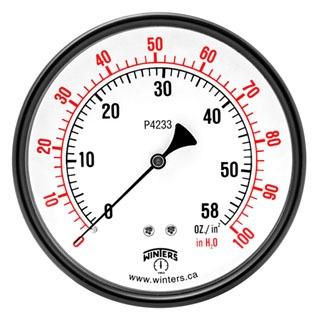 "Winter PLP305 1/4"" Npt 5Psi/Kpa 2.5"" Dial Differential Low Pressure Gauge"
