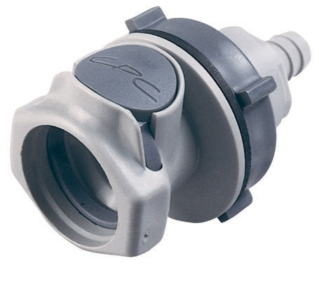 "HFCD16612 3/8"", Hose Barb, 2.82"" L, 60 PSI, Molded Gray, Polypropylene, Shut-Off/Valved/Bulkhead, Coupling Body"
