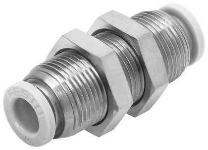 """QBS-1/4T-U 1/4"""" x 1/4"""", Tube Tube, -13.8 to 145 PSI, Nickel Plated, Brass, Push-In, Straight, Bulkhead, Union"""
