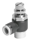 "GRLA-1/4-QB-1/4-U 1/4""-18 TPI x 1/4"", MPT Push-In, -13.8 to 116 PSI, Nickel Plated Brass, 1-Way/2-Port/Manual/Pneumatic, Flow Control Valve"