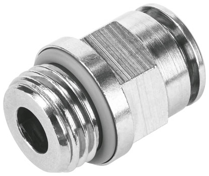 """NPQH-D-G38-Q12-P10 G3/8"""" x 12 MM, MPT Tube, Nickel Plated, Brass, -0.95 to 20 Bar, Push-In, Adapter"""