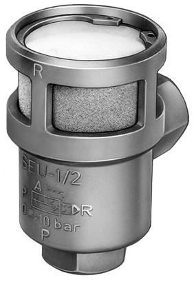 "SEU-1/2-NPT 32 MM Supply, 1/2"" NPT, 2.2"" x 3.56"" Exhaust, 7.5 to 150 PSI, Die Cast Aluminum Silicon, Direct Mount, Quick Exhaust Valve"