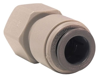 """PI4512C5S 3/8"""" x 1/2""""-16 TPI, Tube FPT, Acetal Copolymer, Straight, Connector"""