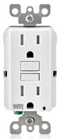 GFWT1W WT599W 15 AMP GFCI DUPLEX RECEPTACLE WITH 20 AMP FEED THRU CAPACITY SIDE AND BACK WIRED WEATHER RESISTANT TAMPER PROOF WHITE QTY 1/10