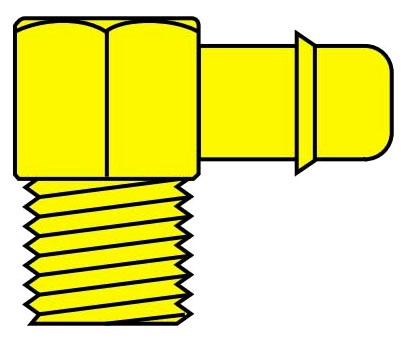 """1/4LB6-N/P 1/4"""" x 1/4"""", MPT Hose Barb, Electroless Nickel Plated, 90D, Elbow"""