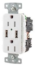 HUB USB15A5W RCPT DUP 15A 125V 5A 5V USB PORT A WH