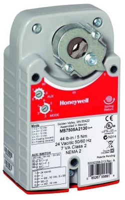 Honeywell MS4105A1030 Two-position, SPST, spring return, 44 lb-in., 5 Nm, Direct-coupled Actuator