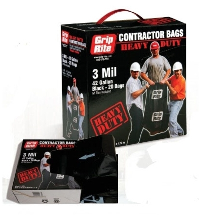 GRIP-RITE GRHDCBAG20 GARBAGE BAG 3MIL 42 GAL. HUSKY CONTRACTOR TRASH CLEAN UP BAGS [20/BX]