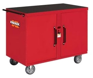 "KNAACK 63 ROLLING WORK BENCH 46-1/4"" X 25"" X 37.5"" STORAGEMASTER RED MECHANIC'S CHEST 8 DRAWERS & 1 SHELF WITH 6"" CASTER SET"