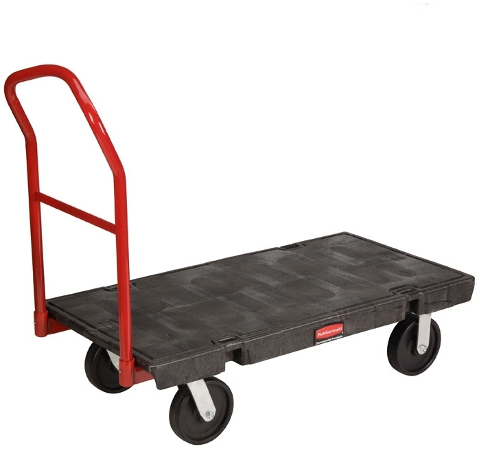 """RUBBERMAID FG444100BLA PLASTIC 24"""" X 48"""" PLATFORM TRUCK CART WITH 8"""" POLY CASTERS HDPE FOAM DECK 2500 LB. LOAD CAPACITY WITH REMOVABLE HANDLE [4441-00]"""
