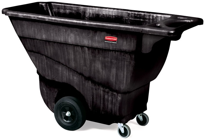 "RUBBERMAID FG9T1400BLA TILT TRUCK 3/4 CUYD 850LB CAPACITY 57-3/8"" X 26-7/8"" X 33-7/8"" BLACK STRUCTURAL FOAM CART [9T1400-BLA] [9T14-L1= 10"" WHEEL] [1013-L2= 4"" SWIVEL CASTER]"