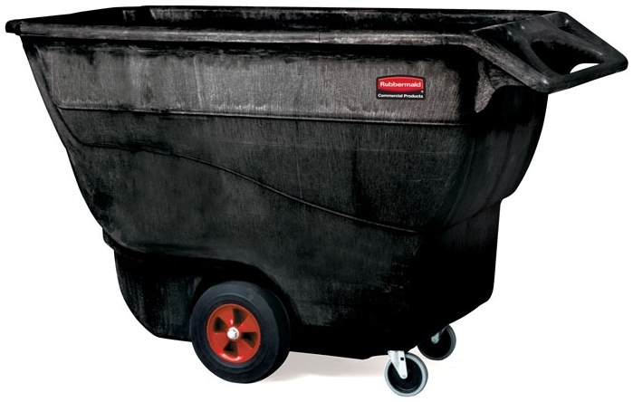 "RUBBERMAID FG9T1500BLA TILT TRUCK 1 CUYD 1250LB CAPACITY 70-3/4"" X 33-1/2"" X 42-1/4"" BLACK STRUCTURAL FOAM CART [9T1500-BLA] [1315-L3= 12"" WHEEL] [9T15-L1= 5"" SWIVEL CASTER]"