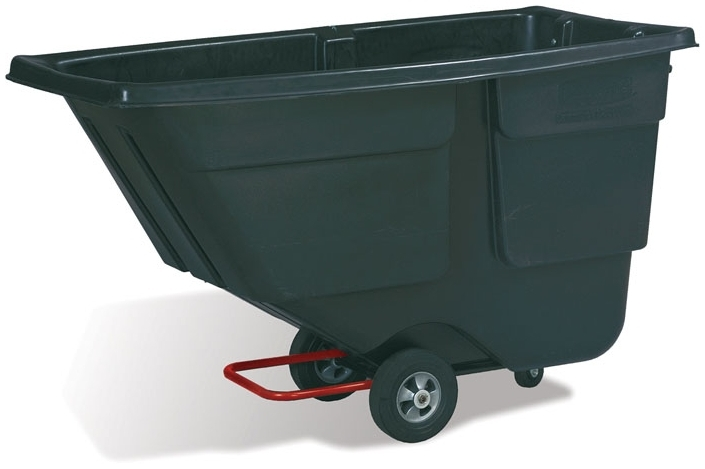 "RUBBERMAID FG9T1800BLA TILT TRUCK 1 CUYD 600LB CAPACITY 72-1/4"" X 33-1/2"" X 43-3/4"" BLACK STRUCTURAL FOAM CART [9T1800-BLA] [1305-L3= 10"" WHEEL] [9T18-L1= 5"" SWIVEL CASTER]"