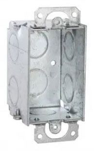 """Raco Electrical Switch Box for House Wiring Device, 2"""" x 2"""" x 3"""", 10.3 Cu Inch, 8-Knockout, 1-Gang, Gray, Pre-Galvanized Steel, Plaster Ear Mount"""