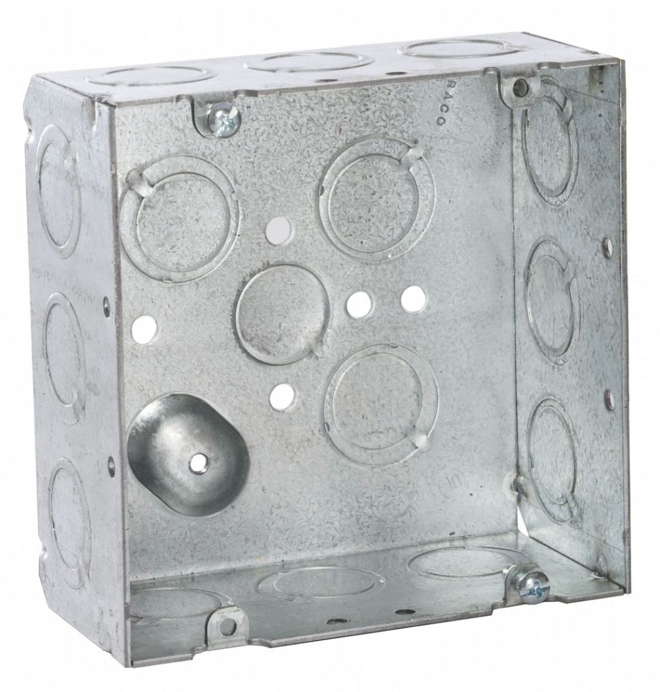 """Raco Square Box (25 per Pack), 4-11/16 x 4-11/16 x 2-1/8"""", 42 Cu Inch, 16-Knockout, Pre-Galvanized Steel, Welded"""