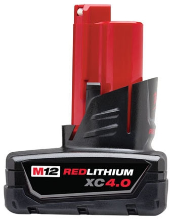 Milwaukee Tool M12™ REDLITHIUM™ Battery Pack for M12 Cordless Power Tool, 12 V, 4 AH, Lithium-Ion, Extended Capacity