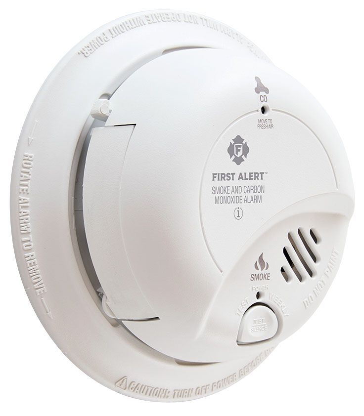 BRK Smoke and Carbon Monoxide Detector Alarm, 120 VAC, 9 V Alkaline Battery, 85 dB, 18-Interconnection, Red/Green LED, Dual Ionization