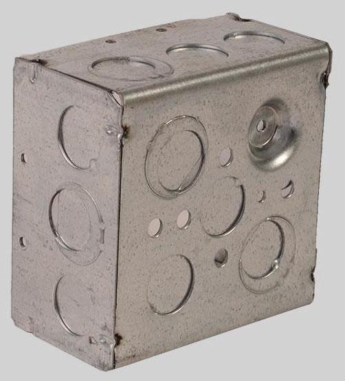 "DiversiTech Utility Box, 4"" x 4"" x 2-1/8"", 30.3 Cu Inch, 3/4"" and 1/2"" Knockout, Galvanized Steel"