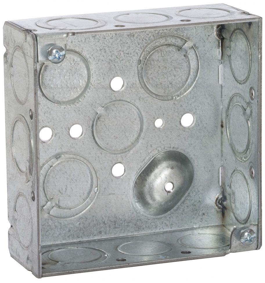 """Raco Square Box (50 per Pack), 4"""" x 4"""" x 1-1/2"""", 21 Cu Inch, 16-Knockout, Pre-Galvanized Steel, Ceiling/Wall, Welded"""