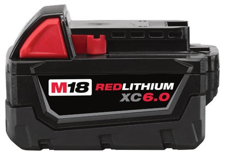 Milwaukee Tool M18™ REDLITHIUM™ Battery Pack for M18 Cordless Power Tool, 18 V, 6 AH, Lithium-Ion