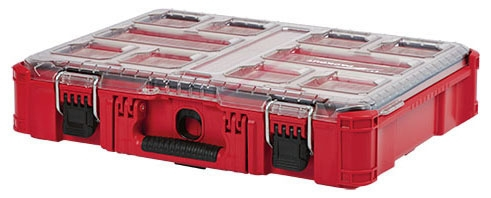 "Milwaukee Tool PACKOUT™ Organizer with 8 Small Bin and 2 Large Bin, 19.76"" x 15"" x 4.61"", Heavy Duty, Reinforced Hinge"