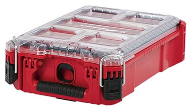 "Milwaukee Tool PACKOUT™ Organizer with 4 Small Bin and 1 Large Bin, 9.72"" x 15.24"" x 4.61"", Heavy Duty, Reinforced Hinge"