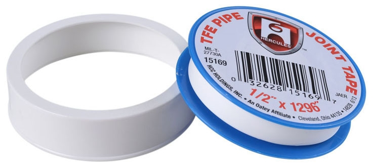"Hercules Pipe Joint Tape, 1/2"" x 520"" x 3 Mil, 10000 PSI, White, TFE"