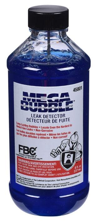 Hercules Megabubble® Leak Detector, 8 Oz, Bottle, Blue, Liquid, Bubble Solution, Gas