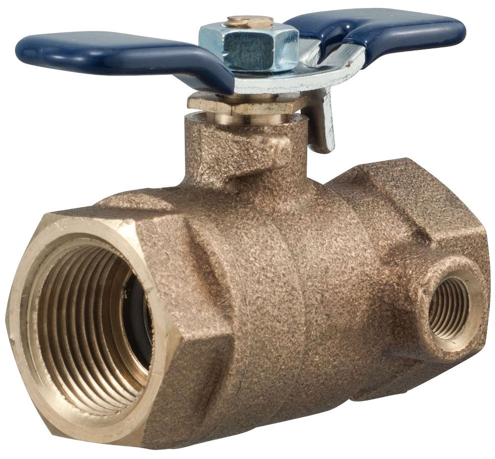"""Febco Ball Valve, 1"""", FPT x FPT, 600 PSI WOG Non-Shock, 125 PSI Saturated Steam, Lead-Free, Cast Copper Silicon Alloy Body, Chrome Plated Brass Ball, 1/4 Turn, T-Handle, Full Port, Tapped, Side Outlet"""