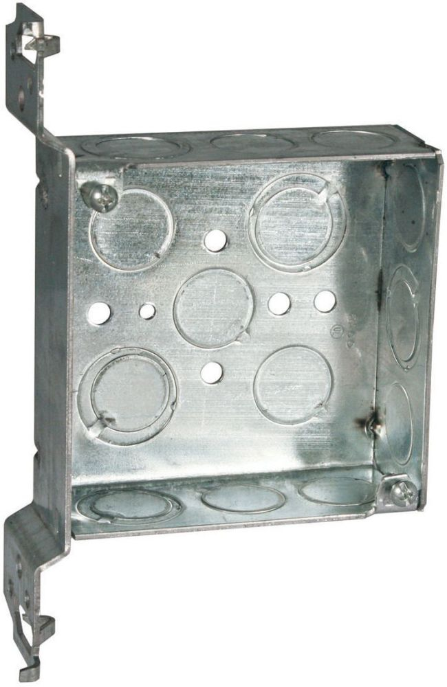 """Raco Square Box (25 per Pack), 4"""" x 4"""" x 1-1/2"""", 21 Cu Inch, 14-Knockout, Pre-Galvanized Steel, Ceiling/Wall, Welded"""