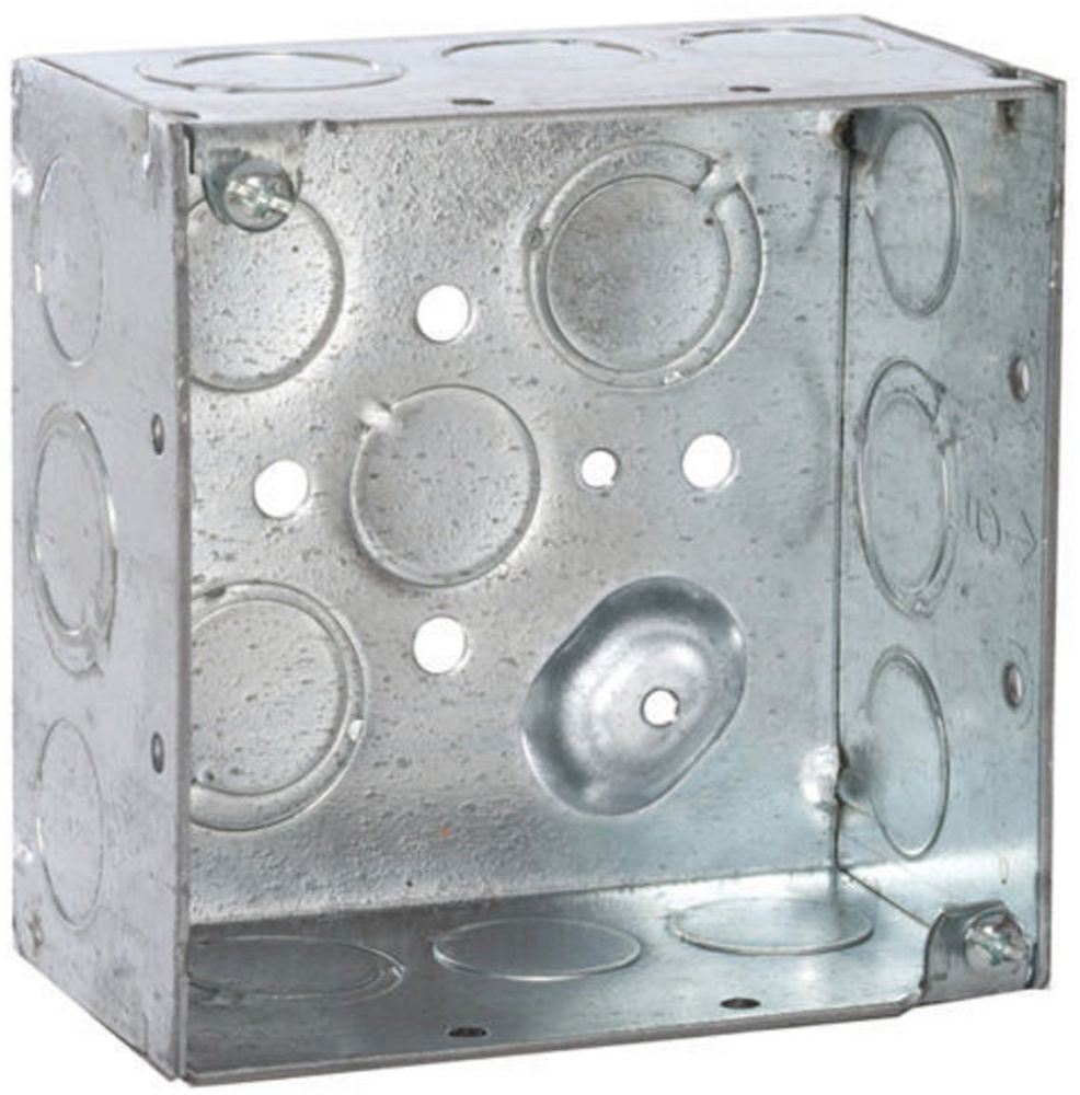 """Raco Square Box (25 per Pack), 4"""" x 4"""" x 2-1/8"""", 30.3 Cu Inch, 16-Knockout, Pre-Galvanized Steel, Ceiling/Wall, Welded"""