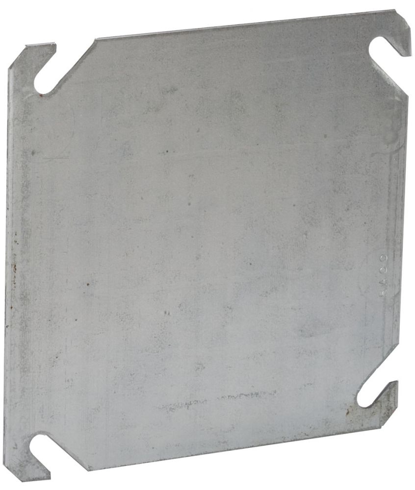 """Raco Square Box Cover, 4"""" Box, 0.0625"""" Pre-Galvanized Steel, Blank Opening, Flat"""