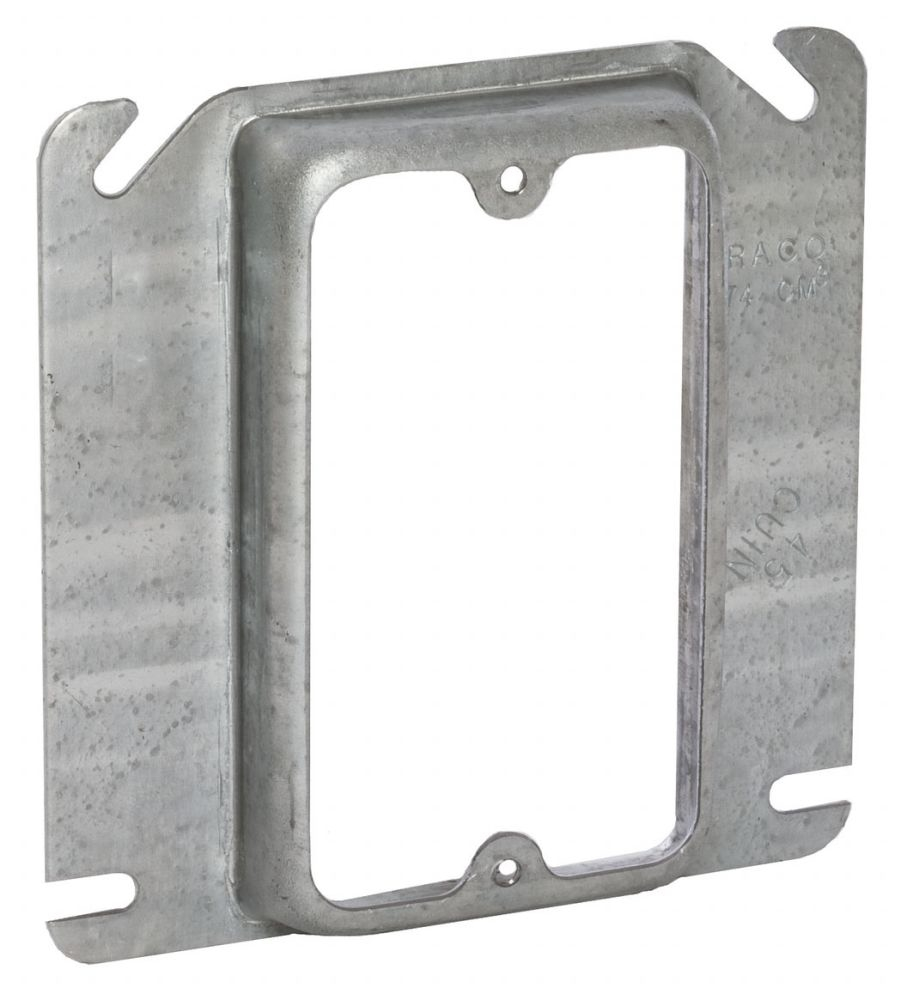 "Raco Square Box Cover, 4"" Box, 5/8"" Raised, 4.5 Cu Inch, 0.0625 Inch Pre-Galvanized Steel, 1-Device Opening, Raised"