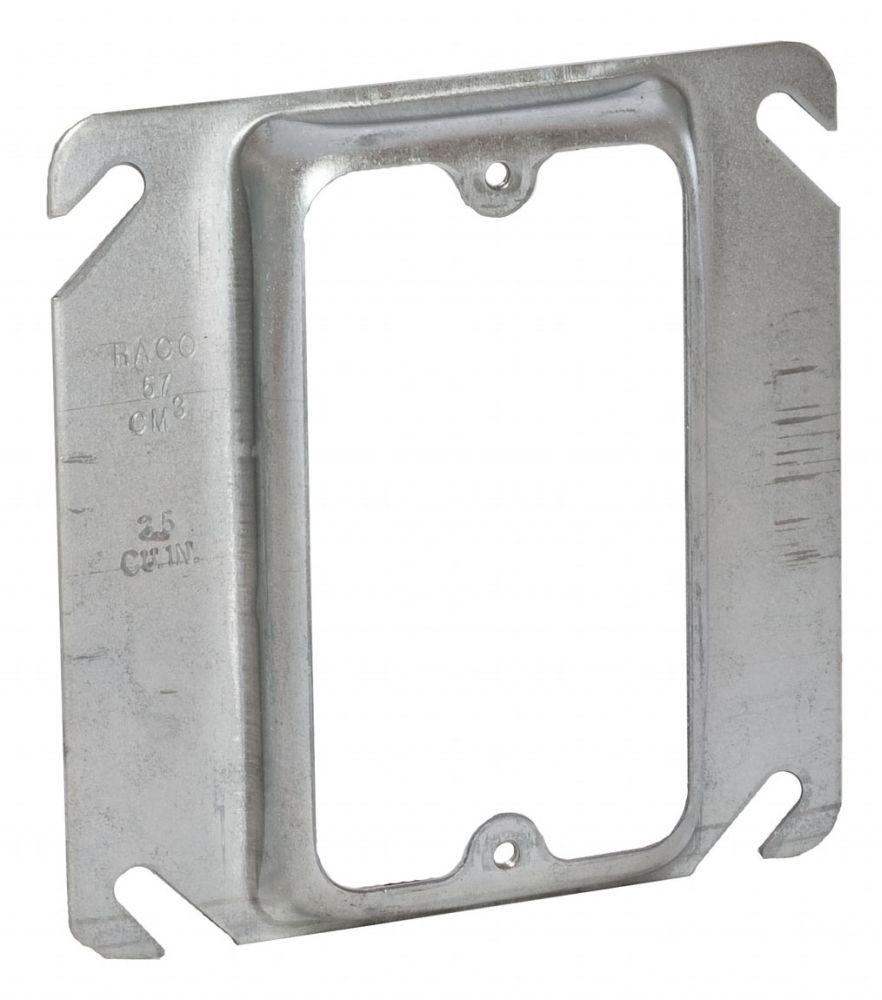 "Raco Square Box Cover, 4"" Box, 1/2"" Raised, 3.5 Cu Inch, 0.0625 Inch Pre-Galvanized Steel, 1-Device Opening, Raised"
