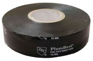 "Jones Stephens PlumBest™, LTConnections™ Pipe Wrap Tape, 2"" x 100' x 10, Black, PVC Backing"