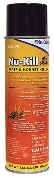 Nu-Calgon Nu-Kill® Wasp and Hornet Killer Spray, 57200 V, 13.5 Oz, Clear, Liquid, Aerosol Can