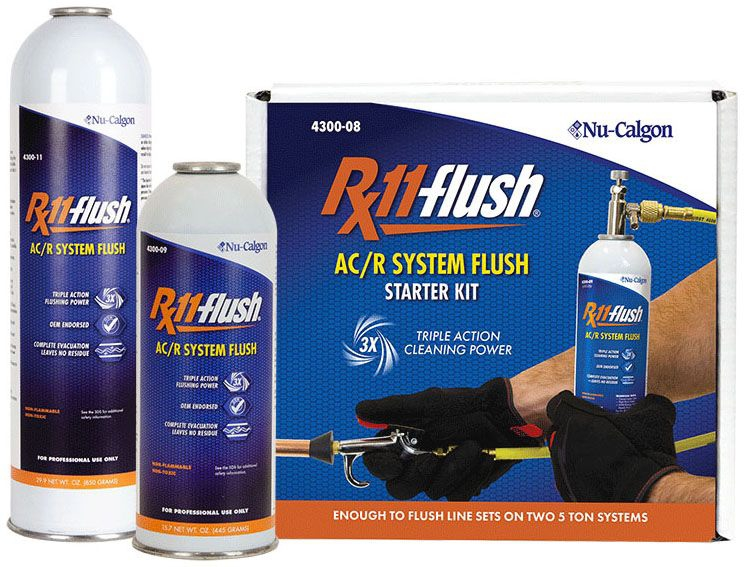 Nu-Calgon Rx11-flush® Rx11-flush® Air Conditioner/Refrigeration Flushing Solvent, 1 Lb, Canister, Clear, Liquefied Gas, Aerosol