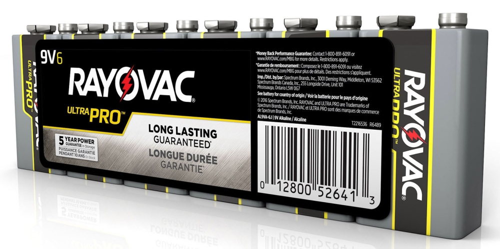 Rayovac Ultra Pro™ Industrial Battery (6 per Pack), 9 V, Alkaline, Shrink Wrapped, Snap Terminal