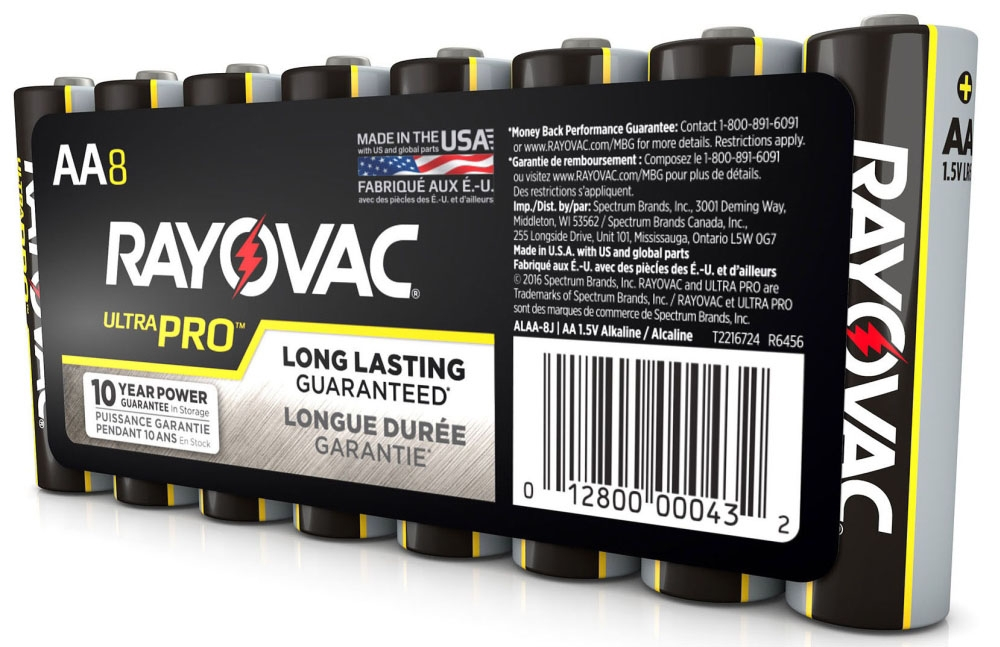 Rayovac Ultra Pro™ Industrial Battery (8 per Pack), AA, Alkaline, Shrink Wrapped, Flat Terminal