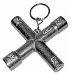 """Pasco Valve Key, 1/4 to 9/32"""" and 5/16 to 11/32"""", Die-Cast, 4-Way"""