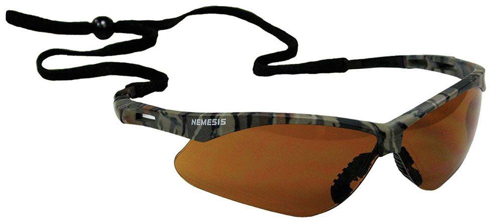 Jones Stephens Nemesis® Safety Glasses, Bronze Lens, Camo Frame, Wrap Around