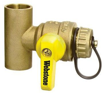 "Webstone Pro-Pal®, T-Drain™ 1-1/4"" x 1-1/4"" Forged Brass Ball Valve, Full Port, Lever Handle, Soldered x Soldered, Lead-Free, 600 PSI WOG"