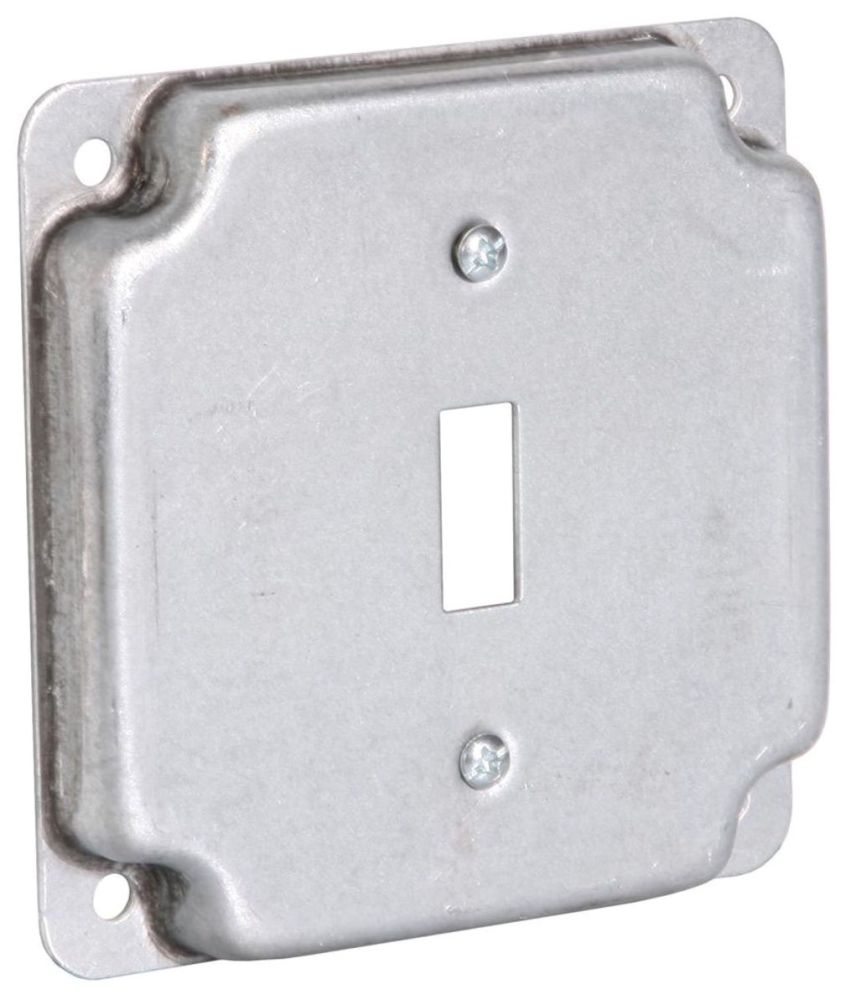 """Raco Electrical Square Box Surface Cover, 4"""" Box, 1/2"""" Raised, 6.5 Cu Inch, 1-Toggle Switch Opening, Pre-Galvanized Steel, Exposed, Crushed Corner"""