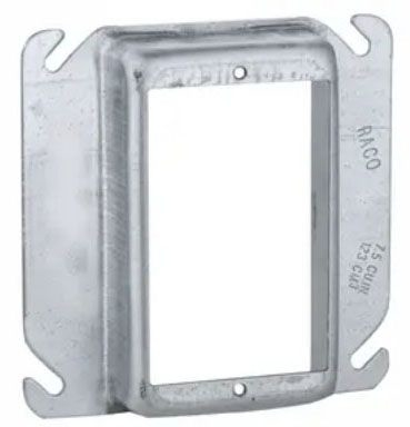 """Raco Electrical Square Outlet Box Cover (25 per Carton), 4"""" Box, 1"""" Raised, 7.5 Cu Inch, 1- Device Opening, Pre-Galvanized Steel, Raised, Mud Ring, Drawn"""