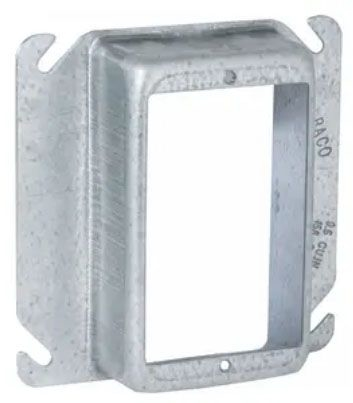 """Raco Electrical Square Outlet Box Cover (25 per Carton), 4"""" Box, 1-1/4"""" Raised, 9.5 Cu Inch, 1- Device Opening, Pre-Galvanized Steel, Raised, Mud Ring, Drawn"""