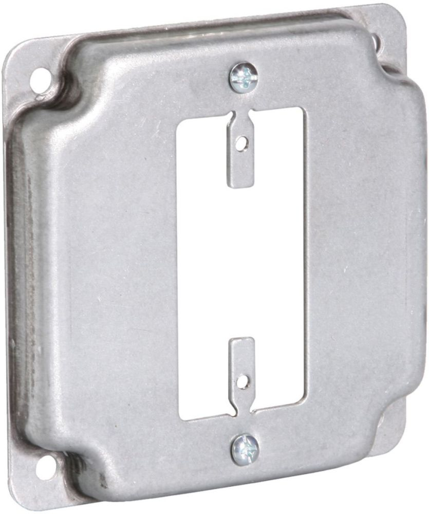 """Raco Electrical Square Box Surface Cover, 4"""" Box, 1/2"""" Raised, 6.5 Cu Inch, 1-GFCI Receptacle Opening, Pre-Galvanized Steel, Exposed, Crushed Corner"""