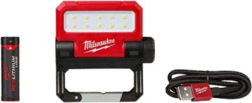"""Milwaukee Tool ROVER™ Pivoting Flood Light, 5.39"""" x 0.65"""" x 0.65"""", 550 Lumen, Cordless, Redlithium Battery, Water and Dust Resistant, USB Rechargeable"""
